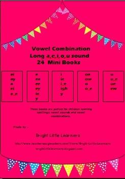 Long a,e,i,o,u sound Vowel Combination Mini Books- Set of 24