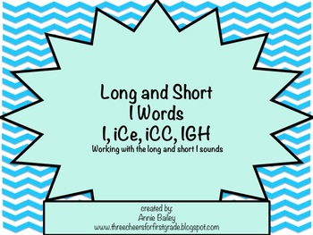 Long and Short I Word Study Sort and Activities (I, iCe, i