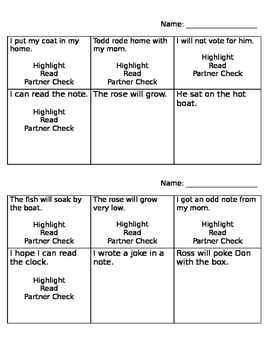 Long and Short O Phonics Activity