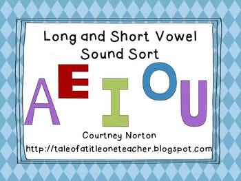 Long and Short Vowel Sort with sorting mats, picture, and