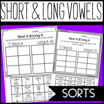 Long and Short Vowel  Sorts and Worksheets: A, E, I, O, U