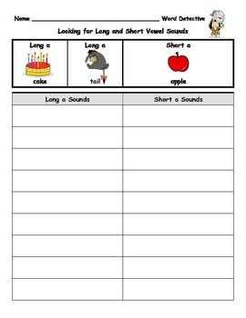 Long and Short Vowel Sounds- Reading Detective Center