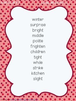Long and Short Vowel Spelling Words