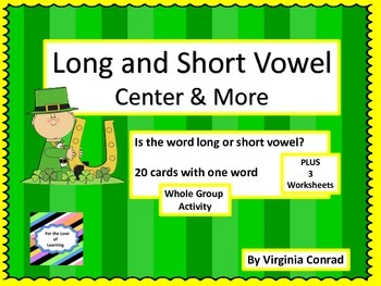 Long and Short Vowel Words-center, activity, and more-St.