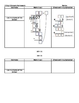Long division two digit divisors homework