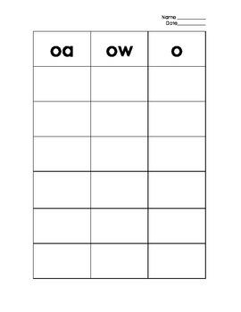 Long o Sort (o, oa, & ow)