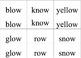 Long o -ow -oa word card printables