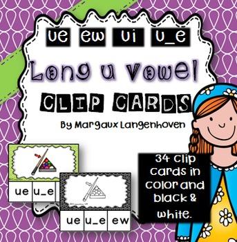 Long u Vowel Sound Clip Cards