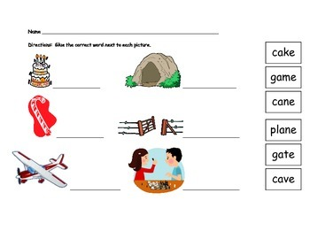Long vowel word/picture matching