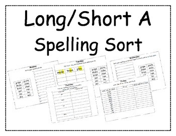 Long/Short A Spelling Packet