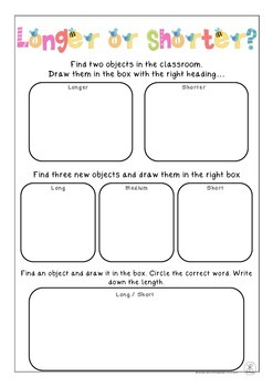 Longer and Shorter Measurement Worksheet