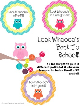 """""""Look Whoooo's back!! Owl themed Back To School labels/gift tags"""
