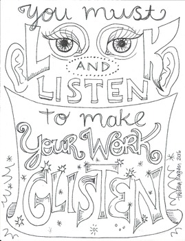 Look and Listen coloring sheet