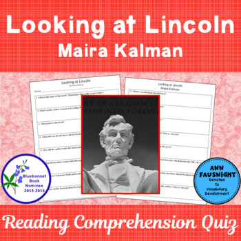 Looking at Lincoln A Bluebonnet Award Nominee Reading Comp