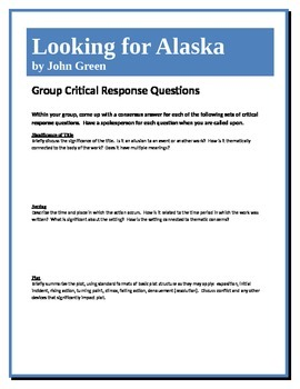 Looking for Alaska - Green - Group Critical Response Questions