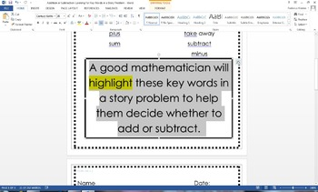 Looking for Key Words in a Story Problem CCSS-OA 1.1