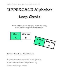 Loop Cards 3 Pack Bundle - Uppercase Letters, Numbers 0-25
