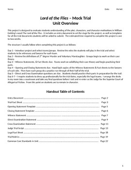 Lord of the Flies Mock Trial Project Packet