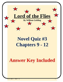 Lord of the Flies Novel Study Quiz Chapters 9 - 12 with an