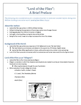 Lord of the Flies Preface: Lesson and Assessment
