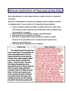 Lord of the Flies - Textual explication EXAMPLE