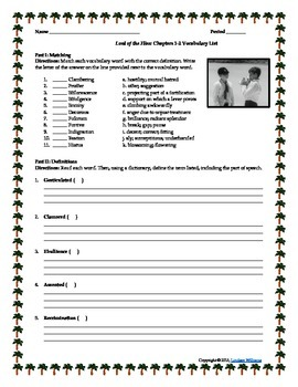 Lord of the Flies Vocabulary Enrichment Activities