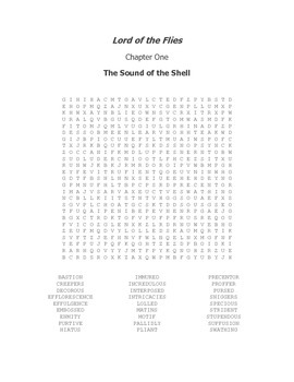 Lord of the Flies Vocabulary Word Search Chapter 1