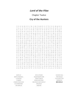 Lord of the Flies Vocabulary Word Search Chapter 12
