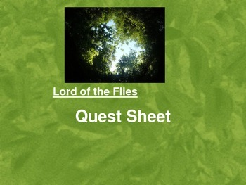 Lord of the Flies Vocabulary and Terms Lesson