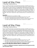 Lord of the Flies Weekly In-Class Essay Assignment
