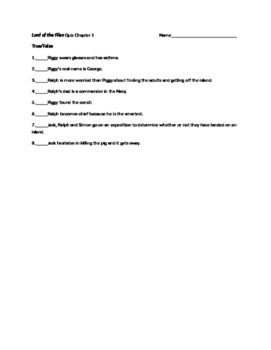 Lord of the Flies by William Golding Quizzes and Activities