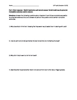 Lord of the Flies chapters 11-12 quiz