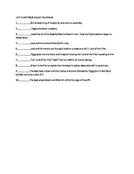 Lord of the flies quiz chps 8-9