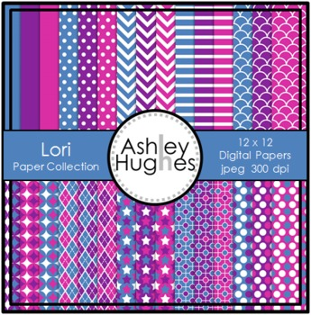Lori Paper Collection {12x12 Digital Papers for Commercial Use}