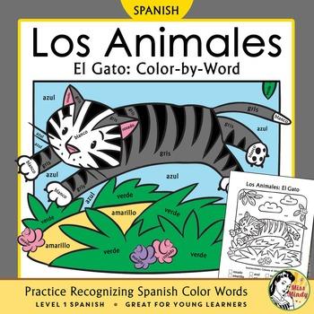 Los Animales de Granja El Gato Spanish Colors Color-by-Wor