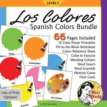 Spanish Colors Bundle: Los Colores Posters, Worksheets, Fl