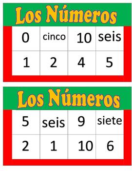 Los Numeros Bingo with words 0-10