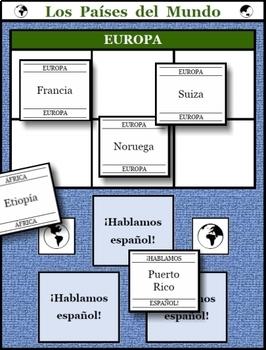 Los Países del Mundo printable game