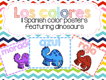 Los colores - Spanish Color Posters with Dinosaurs