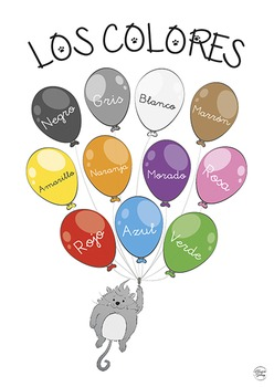 Los colores - Spanish colours poster set (A3, A4, B&W)