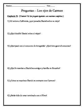 Los ojos de Carmen - Chapter 11 Questions