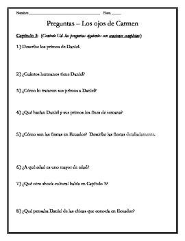 Los ojos de Carmen - Chapter 3 Questions