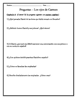 Los ojos de Carmen - Chapter 4 Questions