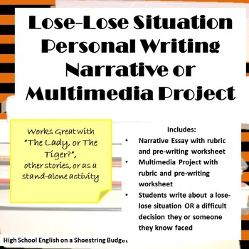 Lose Lose Situation Personal Writing Activities (The Lady