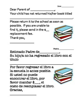 Lost Book Letter to Parents Bilingual Spanish-English