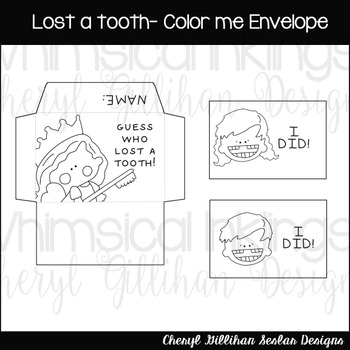 Lost a tooth- Color Me Envelope Printable