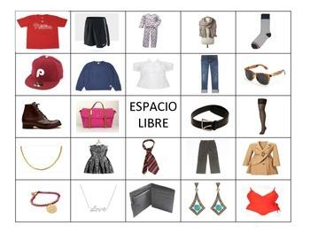 Spanish Clothing Bingo