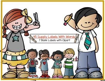 Lots Of School Supply Labels - Polka Dot -
