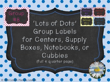 'Lots of Dots' Group Numbers  Back To School