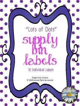 'Lots of Dots' Supply Bin Labels  Back To School